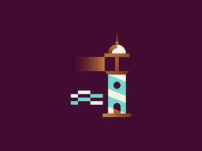 Lighthouse night branding identity vector geometry minimalism logo illustration sea beach lighthouse summer icon