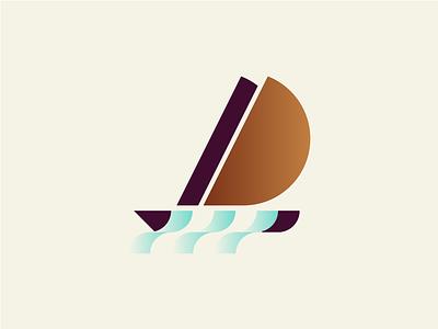 Sailboat illustration icon identity mark minimal geometry minimalism waves sea brand identity branding logotype logo sailing sailboat boat sail