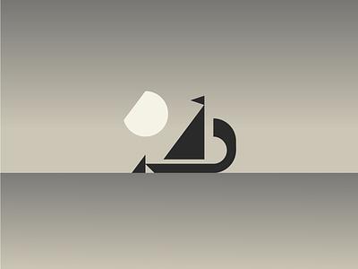 Moliceiro // Boat aveiro logotype logo branding icon minimal minimalism geometry silver illustration night boat