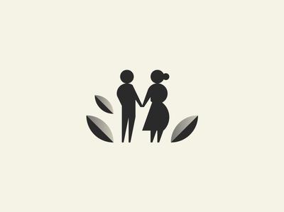 Couple in Garden home care nursing retirement mark icon minimalism identity geometry logotoype branding logo leaf man woman people nature garden couple