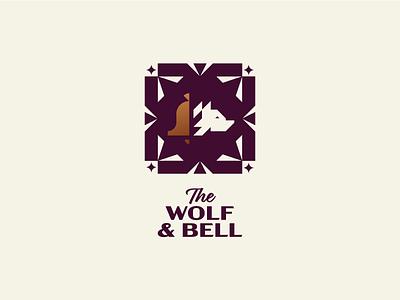 The Wolf & Bell Pub gastropub food restaurant bar pub bell wolf illustration animal minimal mark logotype identity geometry branding minimalism logo