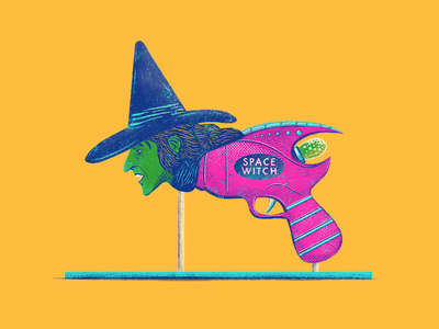 Witch (Space Toy Raygun) junkykid strange funny knockoff bootleg retro branding package illustration oz space toy raygun witch vinatge 80s 70s