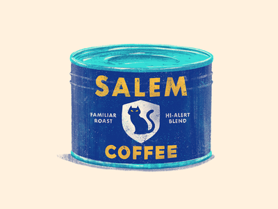 Familiar (Coffee Can) package textures 60s 70s spooky junkykid character logo design branding drawlloween halloween vintage retro can coffee cat familiar