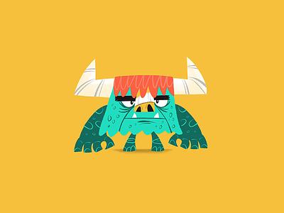 KNEEL Bullstone design character horns illustration junkykid