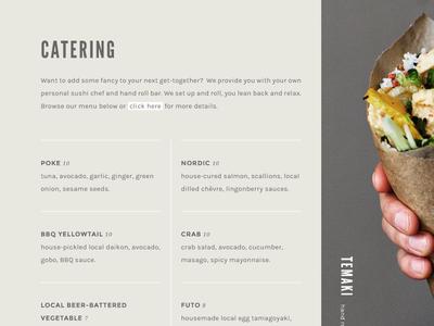 Gohan | Website catering sushi typography menu grid website design website
