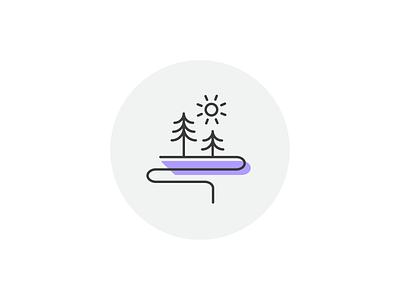 MG | Icon Exploration sun path trees icon line art illustration