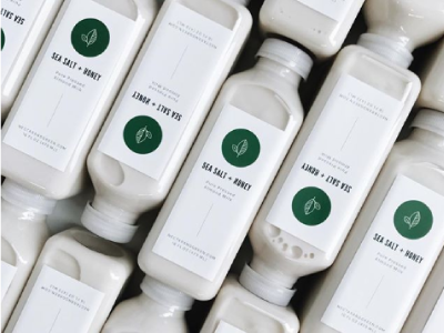 Nectar & Green | Packaging almond milk leaf illustration package design packaging identity branding