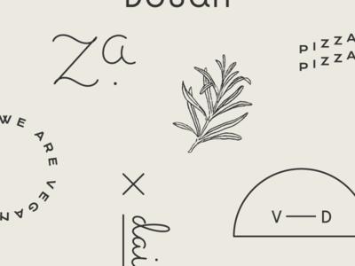 V—Dough | Marks dairy free typography vegan pizza herbs illustration marks identity branding