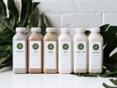 Nectar & Green | Package Design almond milk packaging package design leaves illustration typography modern identity branding