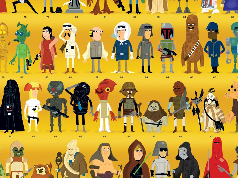 Star Wars - Compendium Poster star wars kenner compendium thebeastisback character illustration