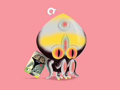"""Mister Squid"" texture character illustration japanese sofubi toy kaiju monster"