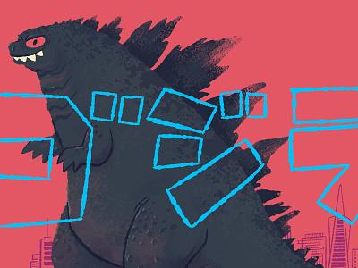 Godzilla (2014) godzilla kaiju print illustration texture