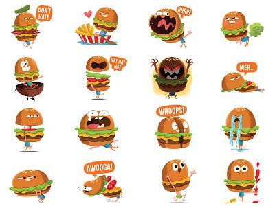 Hamilton - Facebook Sticker Set character hamburger illustration sticker