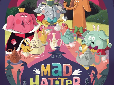 Mad Hatter Tea Party target poster elephants character