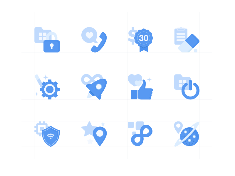 Something Blue b2c design ui monochrome blue set icons