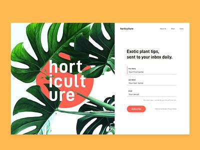 Horticulture Signup Form sign up form web ux ui