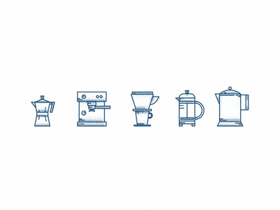 Coffee Icons minimal icon logo branding coffee illustration lines tattoo flat vector design