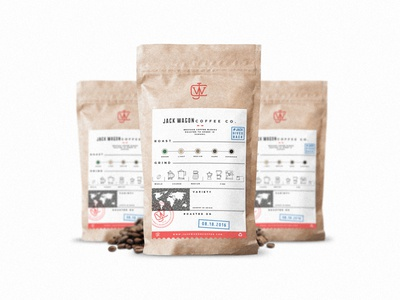 Label for the Jack Wagon Coffee Co. modern coffee label product inspiration minimal packaging flat vector design