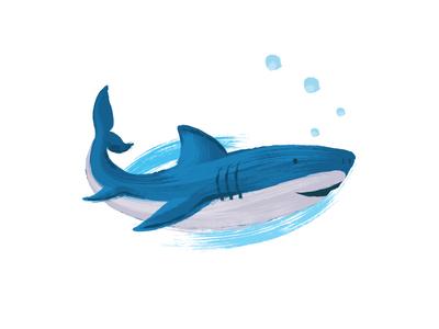 Shark Illustration color brush strokes test work in progress paint vector illustration design