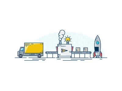 Rocketlaunching brand sky rocket inspiration idea print icon minimalism vector design illustration
