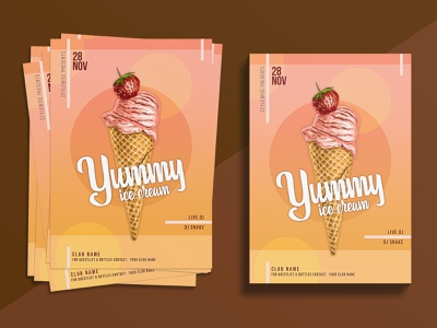 Food Flyer (Yummy Ice-Cream) a4 flyer print flyer print design subrotoedition graphic design ice cream icecream restaurants restaurant branding restaurant food app foodie food illustration food and drink food flyers flyer template flyer artwork flyer design flyer
