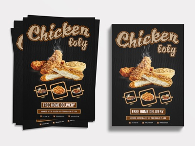 Food Flyer | Chicken Loly modern flyer flyers flyer artwork flyer restaurant flyer design restaurant flyer chicken wings chickens foodie food illustration food flyer template food flyer design food flyer flyer template graphic design flyer design