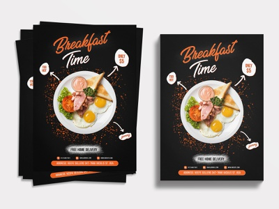 Food Flyer | Breakfast Time restaurant flyer design restaurant flyer a4 paper a4 flyer graphic  design graphicdesign happy breakfast morning coffee morning routine breakfast club breakfast food delivery food flyer design food flyer food flyers flyer template flyer artwork flyer design flyer