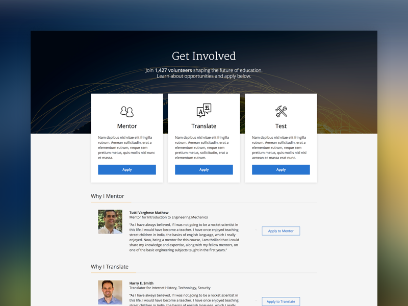 Coursera - Get Involved applications apply signup education volunteer landing pages edtech coursera