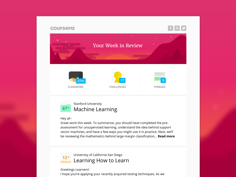 Twilight Sunset, Coursera Email Template sky stars mountains gamification nature education sunset illustration coursera email email template edtech