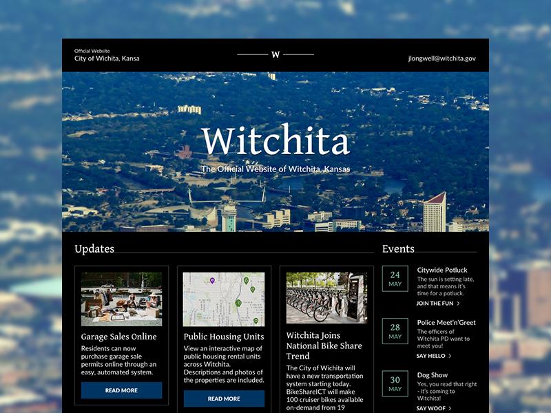 Witchita, Kansas City Website gentium lato typography high-end dark theme high contrast midwest kansas govtech government