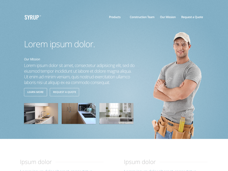 Syrup Construction friendly simple navigation whitespace thumbnails modern light-themed blue construction landing page