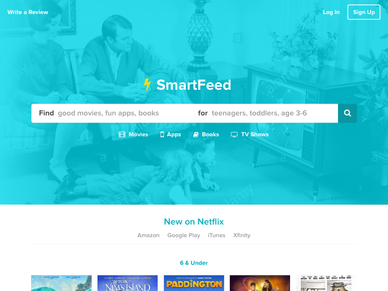 SmartFeed - Better Content for Your Kids search amazon netflix teal landing page homepage webapp children content media kids