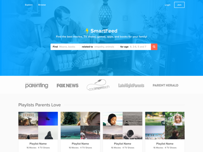 SmartFeed Landing search amazon netflix teal landing page homepage webapp children content media kids