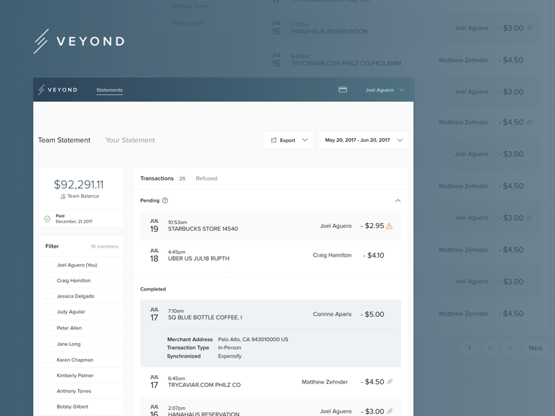 Veyond Statement Dashboard minimal paypal money credit card payments transaction account bank dashboard