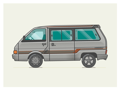 1989 Nissan Largo flat travel camper illustration van