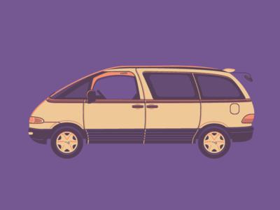 WiP - gift for nomadic comrads  flat illustration estima toyota van