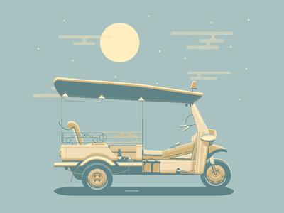Tuktuk illustration vehicle rickshaw sawadee ka bangkok travel chang thailand tuk tuk