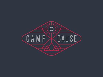 Camp Cause logo camp camping icon church badge shield logo design