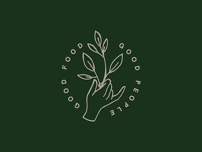 Good Neighbor Catering Co. olive branch badge hand logo logo design