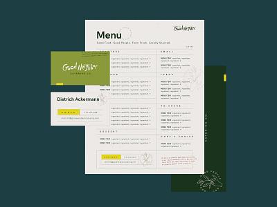 Good Neighbor Catering Co. olive branch business card menu restaurant branding hand lettered logo hand logo hand hand icon handlettering logo design logo branding