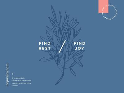 The Pure Joy Co. layout brand identity branding plant hand drawn illustration