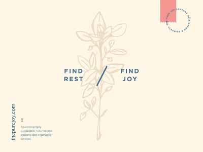 The Pure Joy Co. brand identity branding hand drawn plant illustration