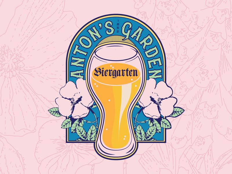 Biergarten color frame badge flower glass illustration french nouveau beer logo