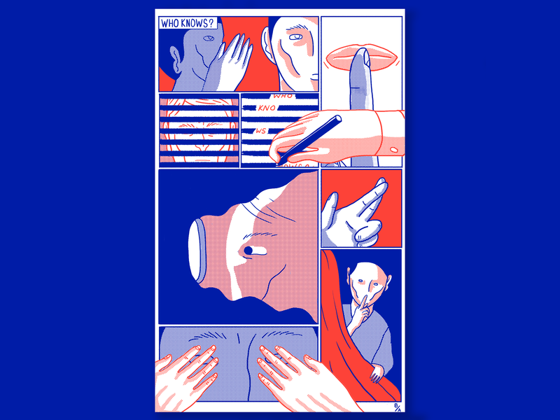Who Knows secrets hands art color riso printmaking print drawing sequential art comic illustration