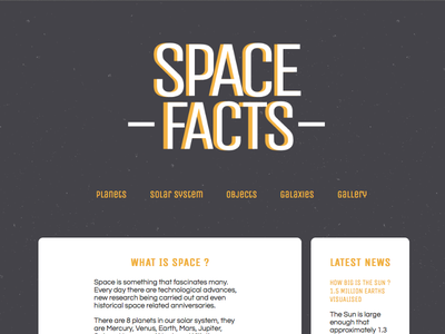 Space Facts web design design internet space facts astronomy pattern subtle