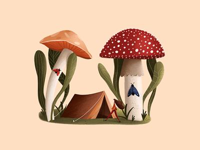 Mushrooms texture 2d mushrooms colors digital illustration pocreate illustration