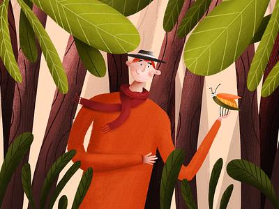 Forest illustraion digitaldraw drawingart scarf man procreate ipad green floral forest illustrator