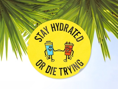 Stay Hydrated or Die Trying vector design typography characterdesign illustration 1930s badge design badge