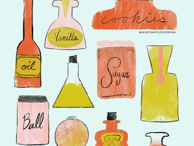 Baketober: Jars drawing challenge illustration art illo food illustration kitchen kitchen tools baking illustration