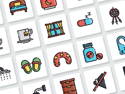 Sleeping Icons Collection web app vector branding ui design illustration flat icon goodware